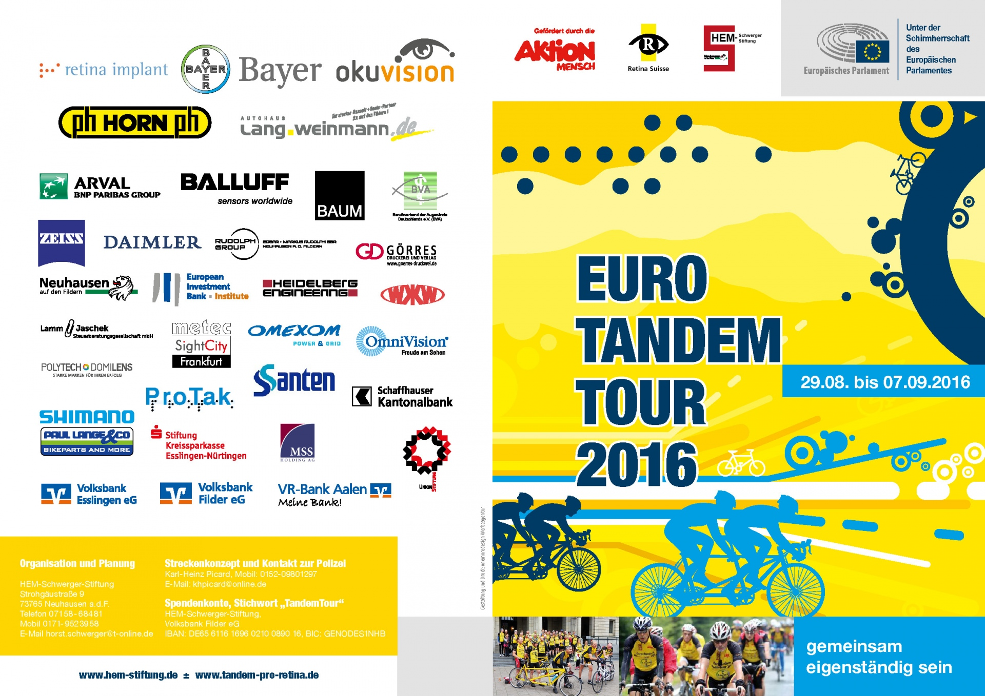 Euro tandem tour 2016 macht station in gr felfing for Hem satteldorf prospekt